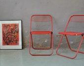 Vintage folding chairs light wood