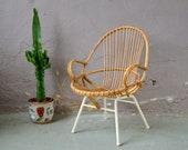 1950s shell rattan chair, mobiler boho