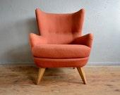Armchair with ears vintage retro 40's vintage retro pop Royère Gio Ponti Arne Jacobsen Garouste Bonetti armchair English wing Chair