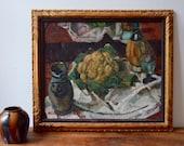 Belgian school Brabant Medard Maertens cauliflower Fauvism painter still life oil painting painting 19th antic oil painting