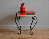 Harness table door-plants vintage retro 50s pop earthenware minimalist tea table coffee table design midcentury french table plants