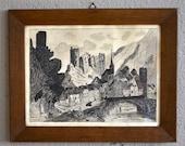Table pen ink retro vintage 50s landscape Castle deco antic french drawing ink landscape midcentury rustic bohemian deco