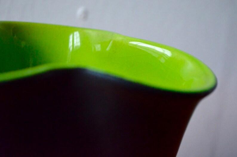Vase Elchinger form free 50s vintage retro black trefoil two-tone green ceramic art work design french deco flower pot vase rare