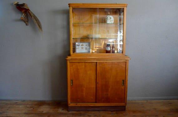 Vitrine meuble de métier bahut vitré étagère vaisselier années   Etsy 860eeb2e6762