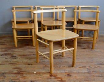 Chair child vintage 60s retro furniture design ash montessori waldorf wooden flesh bohemian deco midcentury furniture kid child