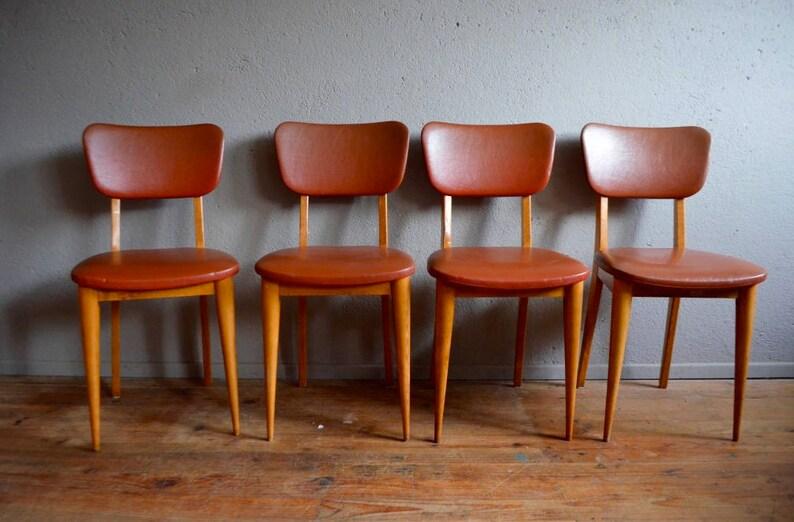 Skaï Piétement Chaises Deco Marron 60 Pop Rétro Rockabilly Vinyle Chairs French Vintage Sixties Of Années Set Fuseau gY76vIbfy
