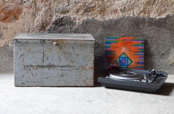 Caisse Metal Cantine Malle Rangement Disque Vinyle 33t Vintage Etsy