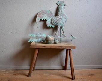Girouette coq en cuivre vintage rétro rustique déco bohème authentique antic weathercock copper cock french deco rustica bohemian curiosity