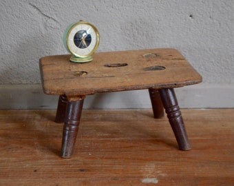 Stool bench table rustic old wood closed plant antiques antic wooden stool bohemian deco holder shabby chic french furniture