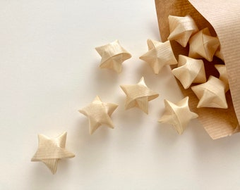 15 small stars made of wood chip, hand-folded / Christmas decoration / scatter decoration / Advent decoration