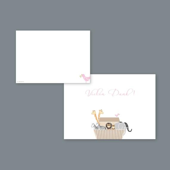8 X Danksagungskarte Arche Rosa Umschlag Taufkarte Blankokarte Taufdanksagung Danksagung Selber Beschriften