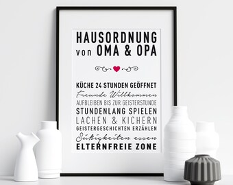 Poster HOUSE ORDER for Grandma and Grandpa, House Rules, Family Living Together, Grandparents, Black White, Wall Art, Print, Typography, Art Print