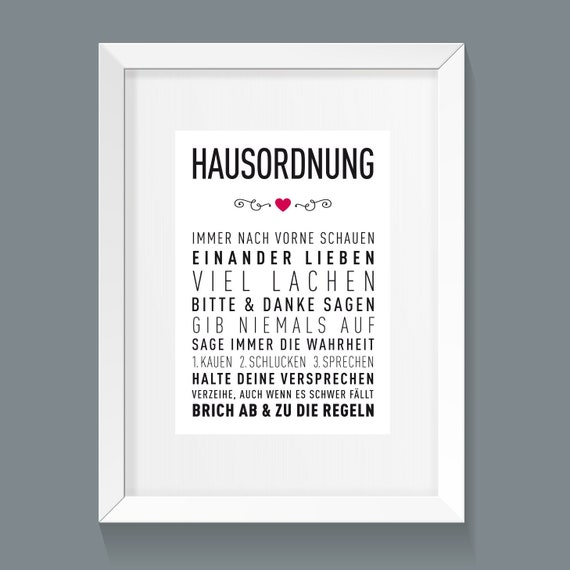 A3 Art Printing House Regulations Family Rules Living Together Black And White Art Print Posters Typography Wall Art Posters Printing Rules