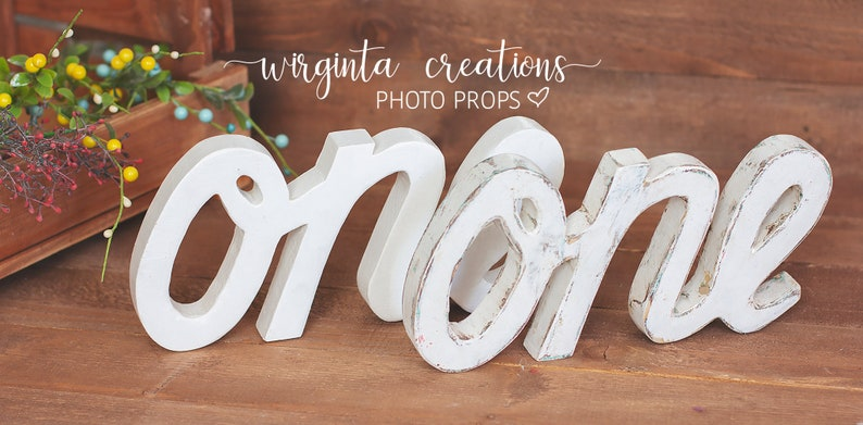 Baby 1st Birthday Decoration Free-standing.Cream gold.Ready to send Curved letters.Wooden.Cake Smash.One word Sign One Photography Props