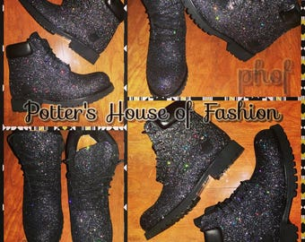 Adult custom black glitter Timberland boots! Teen or adult 25c8e1f2ba