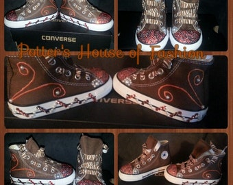3d7f2fb5a6b0a Baby boys custom Converse Chuck Taylor's with matching | Etsy
