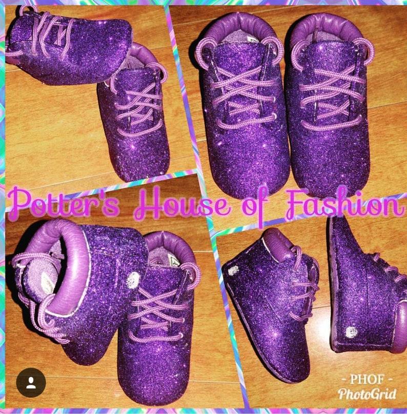 dbf669ea5f7 Purple glitter crib style Timberland boots babygirl Glitter