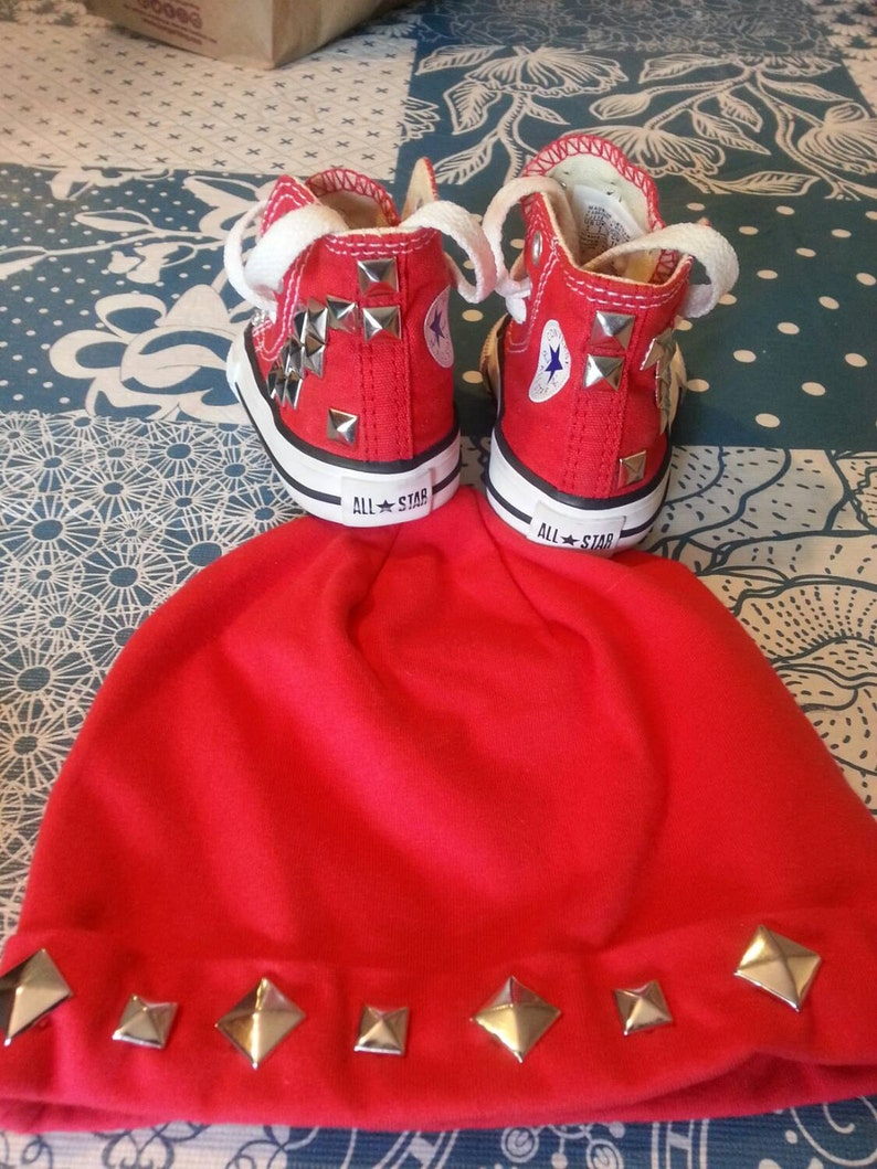 1e9f2fa97f703 Baby boys custom Converse Chuck Taylor's with matching custom beanie hat!  Special occasion, birthday, photos, wedding, keepsake, baby shower