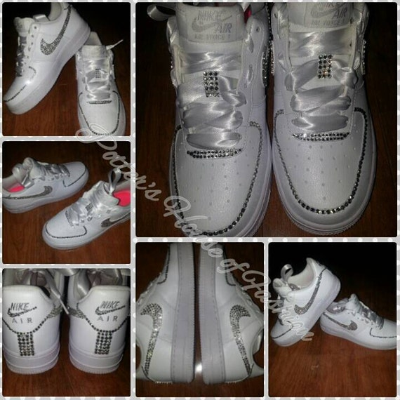 prix compétitif 00afa e590f Women's bling Nike Air Force 1's! Wedding, prom, bride, bridesmaid special  occasion bling shoes