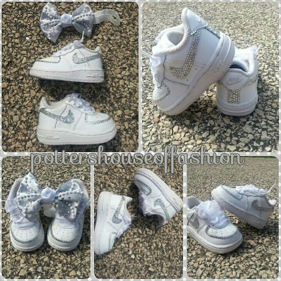Bling Nike Air force ones for baby girls and toddlers  e60252b52
