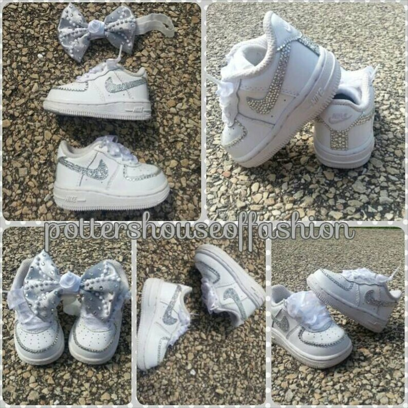 magasin d'usine 81e9e 346a2 Bling Nike Air force ones for baby girls and toddlers! Birthdays, baby  shower gift, special occasion, wedding, keepsake
