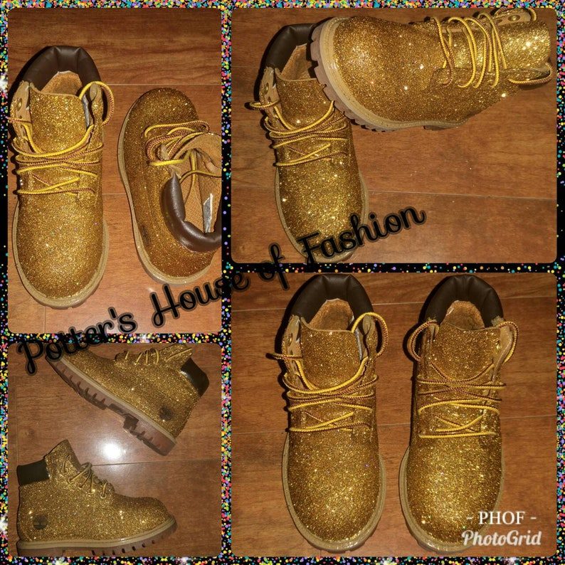 Toddler girls 24k gold glitter Timberland boots! Glitter Timbs, sparkle timberlands, custom timberlands