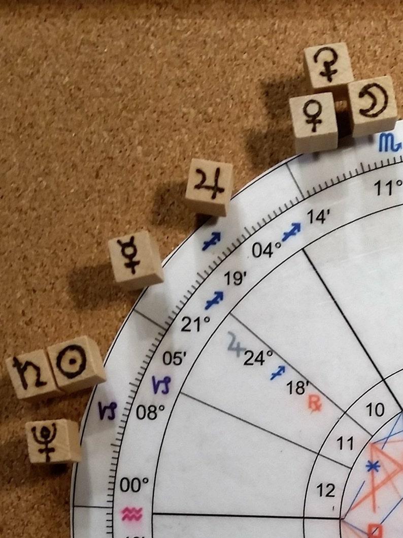 Astrology Transit Kit Natal Chart Planet Push Pins Cork image 0