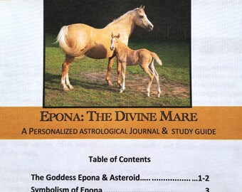 Goddess Epona Journal, Astrology, Study Guide,  Horses, Leadership, Divine Mare, personalized journal