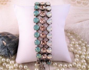 Swarovski bracelet, Cup chain bracelet, 8mm triple strand bracelet; Pacific opal, white opal, crystal bracelet; Summer bracelet