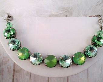 Swarovski bracelet, Cup chain bracelet, 12mm green crystal bracelet, Sparkle and matte crystals
