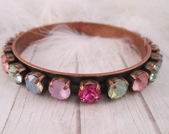 Swarovski bracelet, Cup chain bracelet, 8mm crystal bangle bracelet, Colorful crystal bracelet, Swarovski bangle bracelet