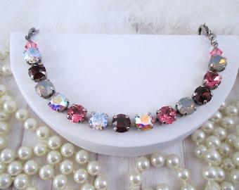 Swarovski bracelet, Cup chain bracelet, 8mm purple, grey and pink Swarovski crystal bracelet
