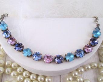 Swarovski bracelet, Cup chain bracelet, 8mm blue and purple crystal bracelet