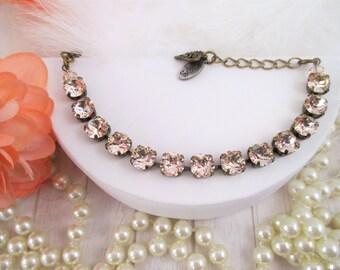 Swarovski bracelet, Cup chain bracelet, Light silk 8mm crystal bracelet, Champagne crystal bracelet, Neutral crystal bracelet