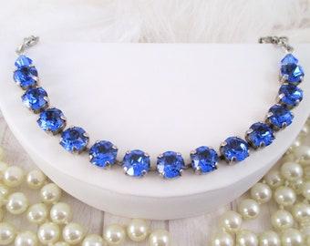 Swarovski bracelet, Cup chain bracelet, 8mm or 12mm sapphire crystal bracelets, Blue Swarovski crystal bracelets