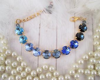 """Swarovski bracelet, Cup chain bracelet, 12mm blue ombre bracelet, """"Midnight Blue"""" bracelet/Blue Swarovski crytal bracelet"""