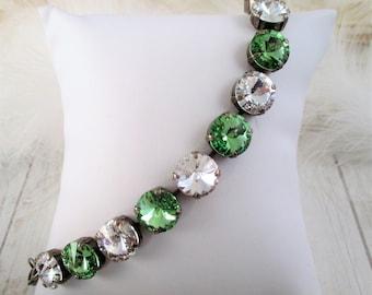 Swarovski bracelet, Cup chain bracelet, 12mm green and clear crystal bracelet