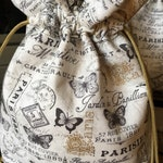 Bridesmaids, Gift for Bride, Bridal Party Gifts, Paris Cloth Fabric Drawstring Gift Bags, Birthday Gift for Her, Bridal Shower, Graduation