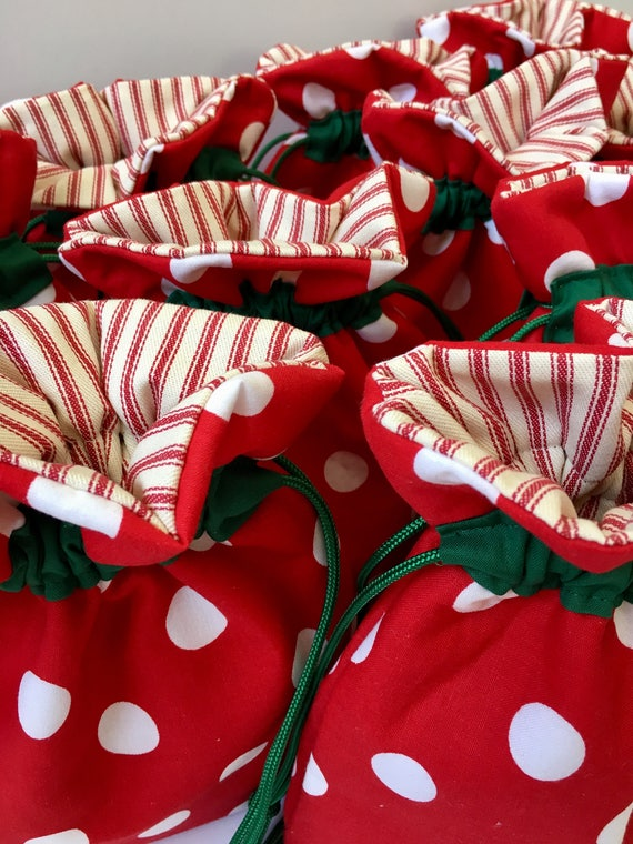 Fabric Christmas Gift Bag Secret Santa Hanukkah Gift Cloth | Etsy