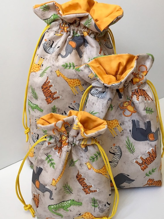 Baby Shower Gift Wrap Bag In Jungle Animals Print Fabric
