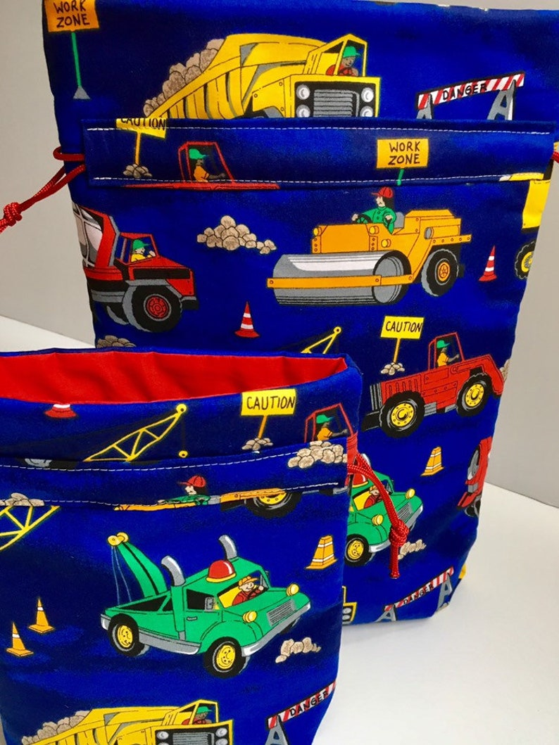 Boys Birthday Gift Bag With Toy Trucks And Construction