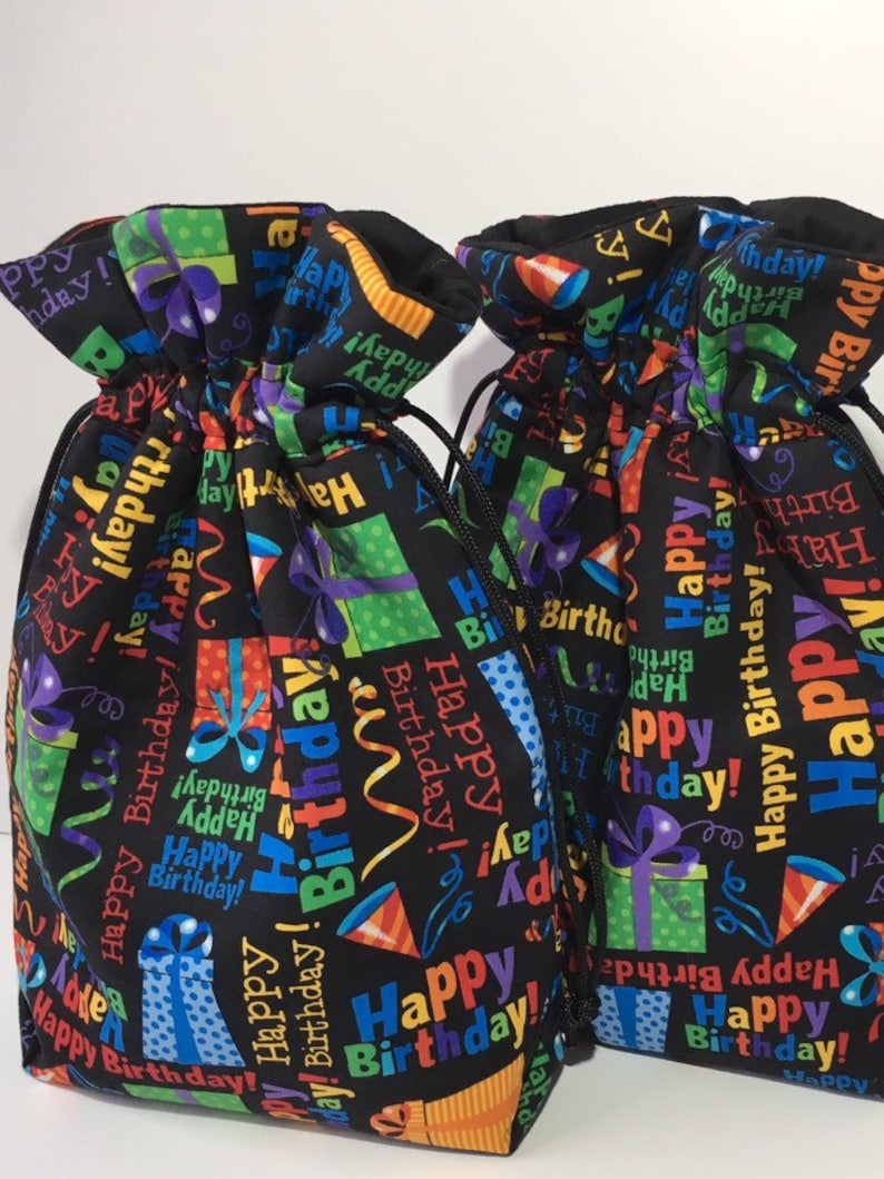 Birthday Party Gift Bag Handmade Wrap Fabric Keepsake