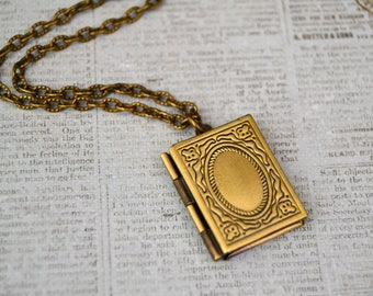 Book locket etsy book locket necklace antique bronze photo locket vintage style locket necklace locket pendant locket necklace aloadofball Images