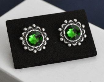 Swarovski True Emerald Green Stud Earrings, Silver Post Earrings, Swarovski Birthstone Earrings