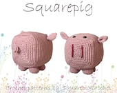 Squarepig crochet pattern, an adorable square pig!