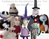 Haakpatronen The Nightmare Before Christmas, Jack Skellington, Sally, Zero, Oogie boogie, the Mayor, Lock, Shock en Barrel