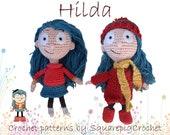 Hilda crochet dress up doll amigurumi, digital PDF pattern