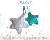 """Stars crochet pattern, two sizes (3"""" and 4 """")"""