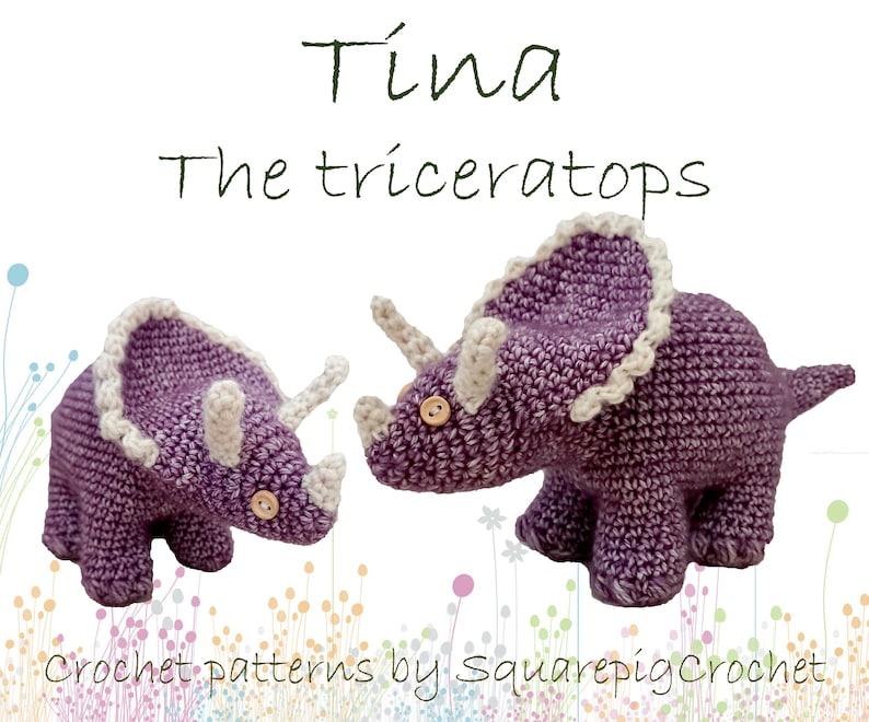 Dinosaur crochet pattern Tina Triceratops image 0