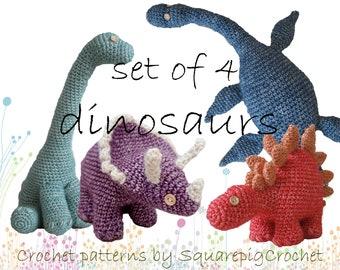 DInosaur crochet patterns set of 4
